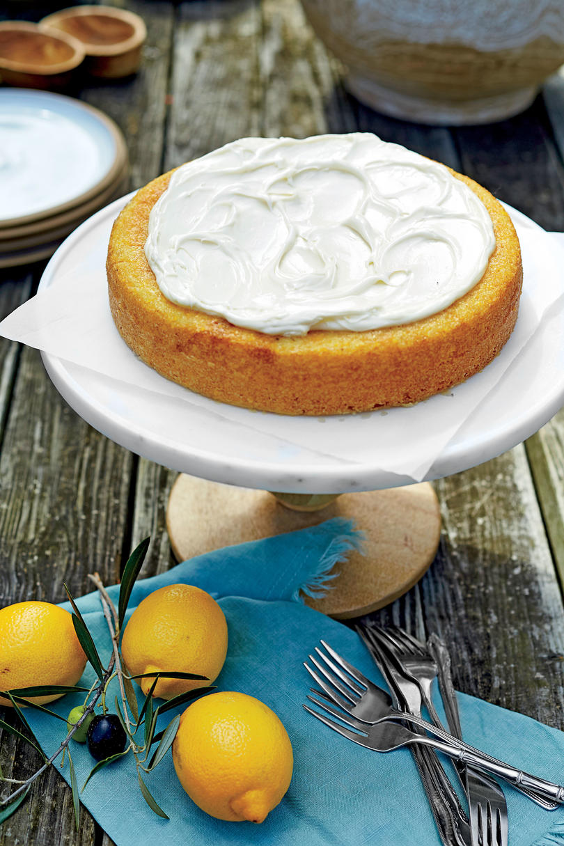 August- Lemon-Olive Oil Cake with Whipped Mascarpone