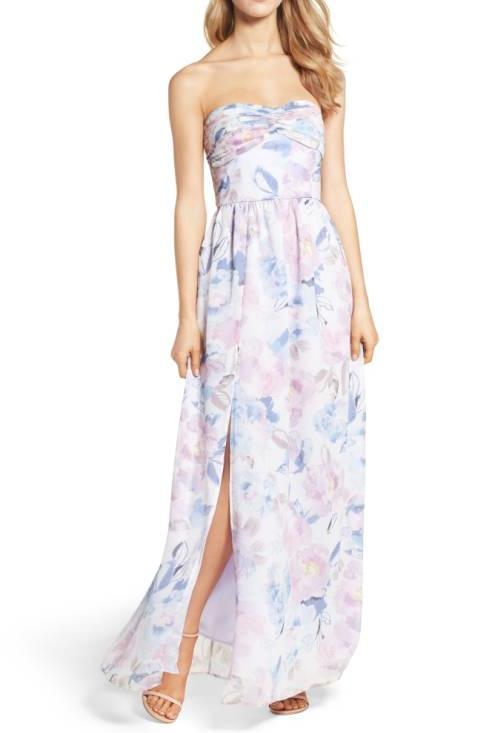Floral Strapless Gown