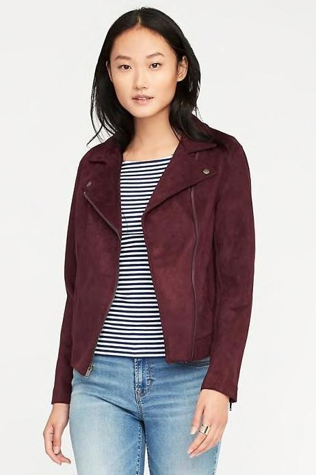 RX1707_ Jackets to See You Through Autumn and Beyond Sueded-Knit Moto Jacket for Women