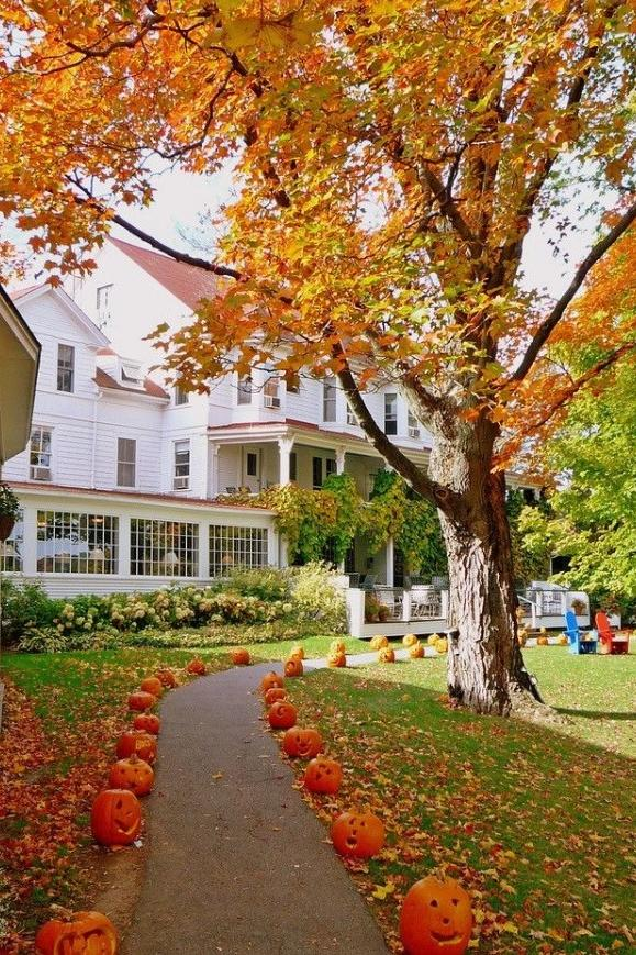 20 Incredible Ways to Decorate with Pumpkins This Fall Pumpkin-Lined Pathways