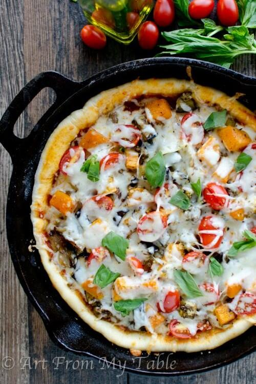 Roasted Vegetable Skillet Pizza