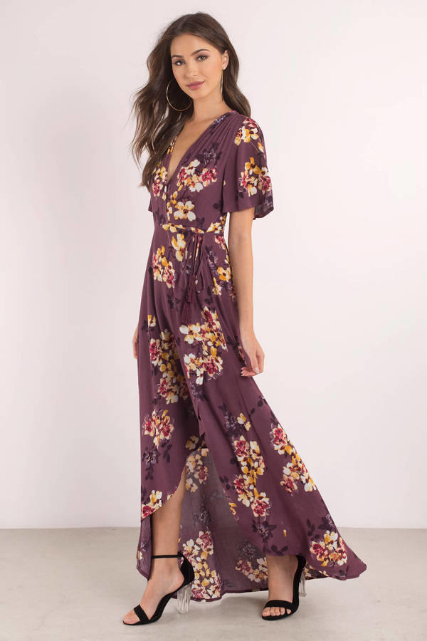 Tobi Wild Flower Plum Maxi Dress