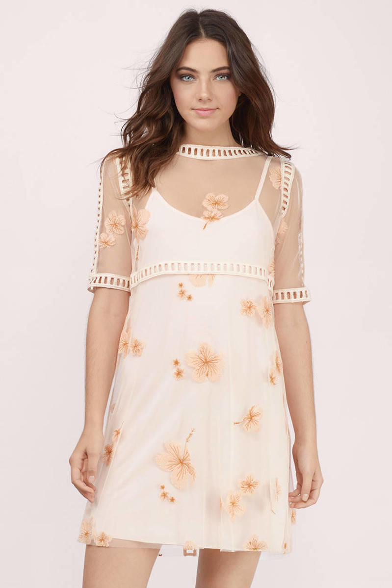Charlotte Cream Embroidered Floral Shift Dress