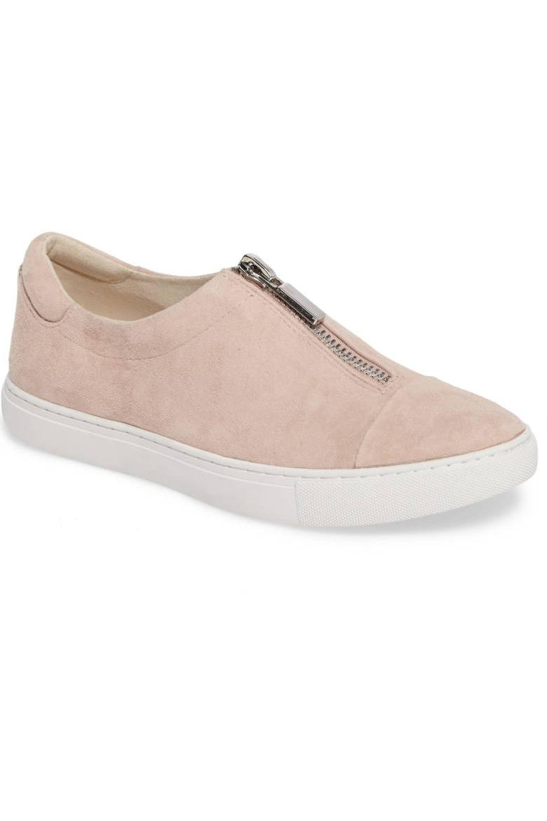 TK Comfy Sneakers That Look Great With Dresses: Polished Suede Zipper Slip On