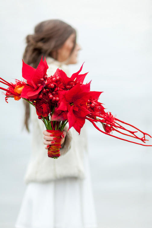 RX_1708_Christmas Wedding Bouquets_Bright Red Poinsettia Bouquet