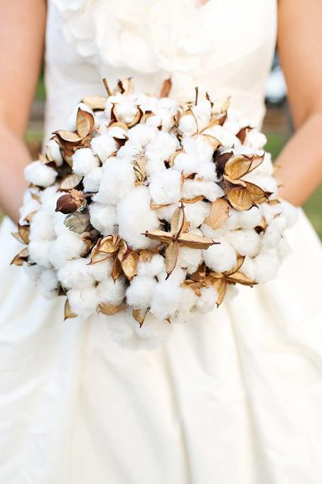 Non-Traditional Bridal Bouquets: Sweet Southern Cotton