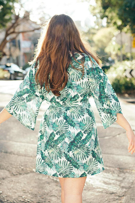 Palm Leaf Tropical Print Robe