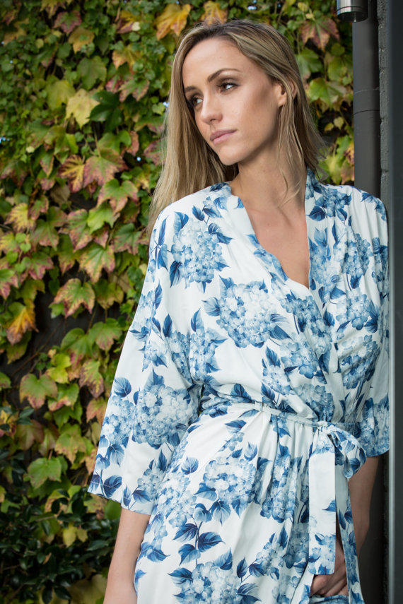 Something Blue Floral Print Robe