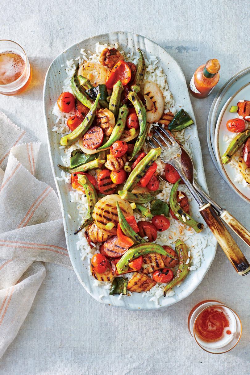 Grilled Creole Chicken and Okra Recipe