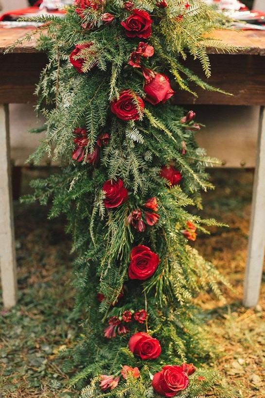 christmas wedding table greenery