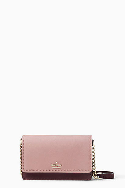 Dusty pink + rich plum colorblocking scores this pretty mini serious style points.