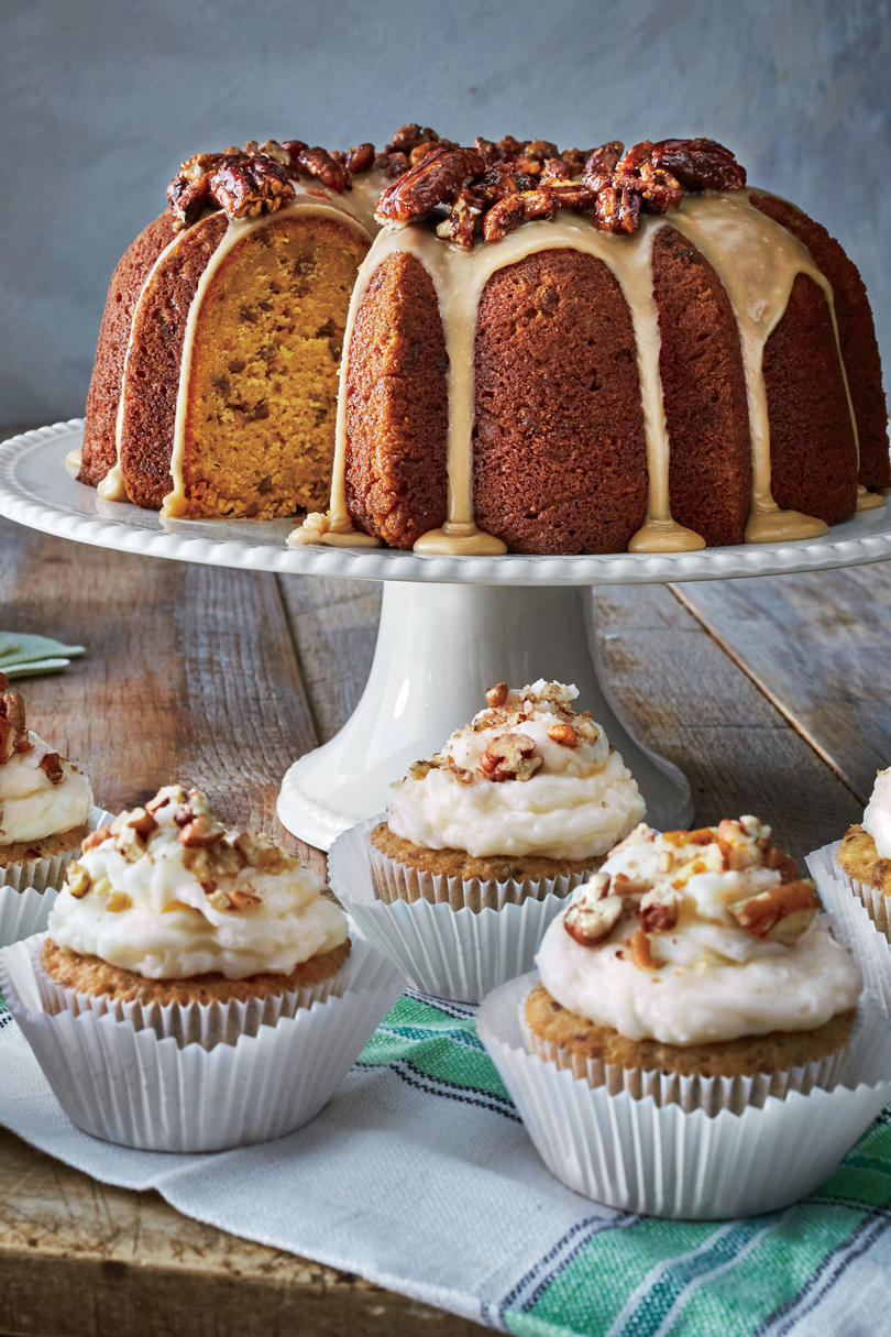 Pumpkin-Spice Bundt with Brown Sugar Icing and Candied Pecans
