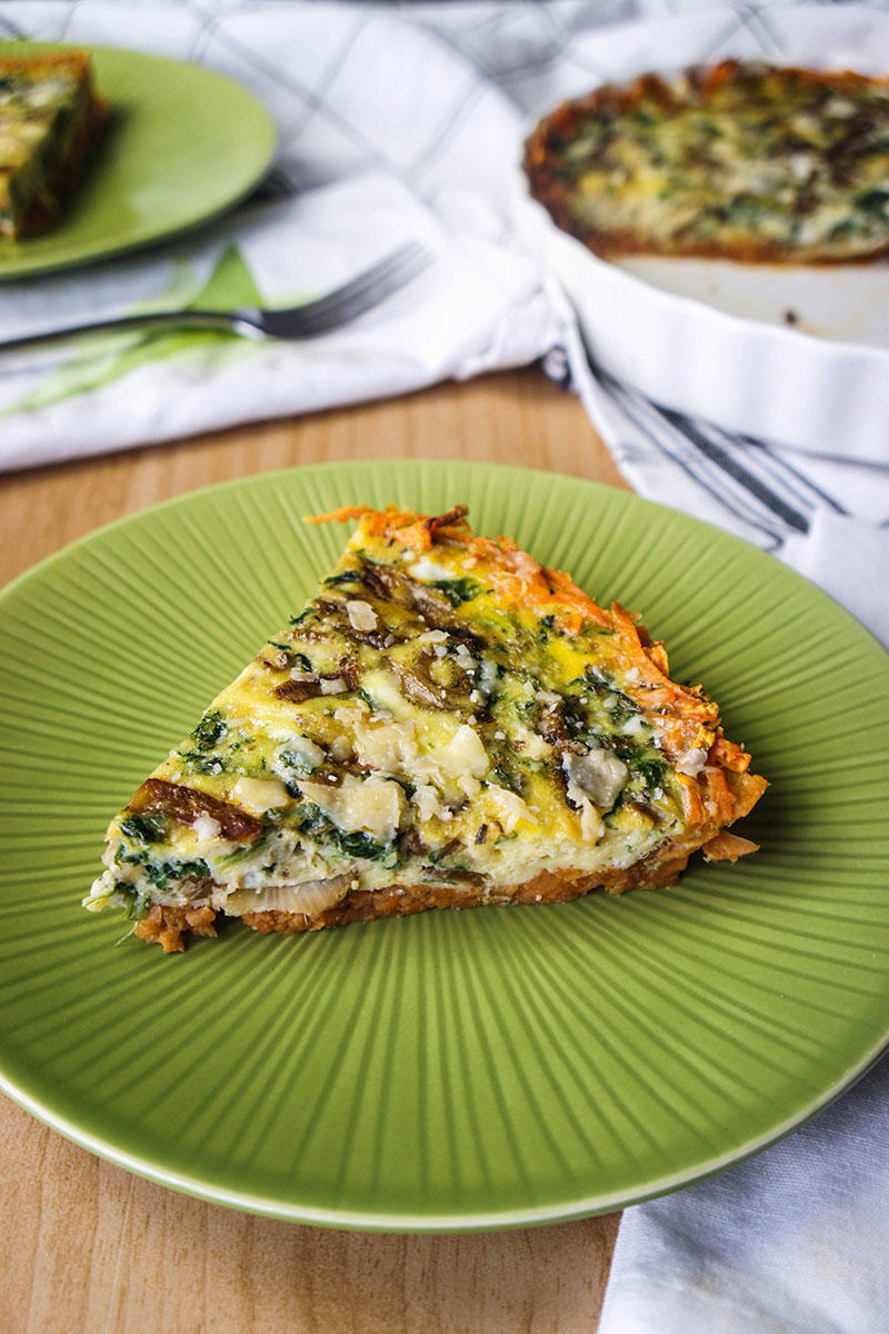 Spinach & Caramelized Onion Frittata with Sweet Potato Crust