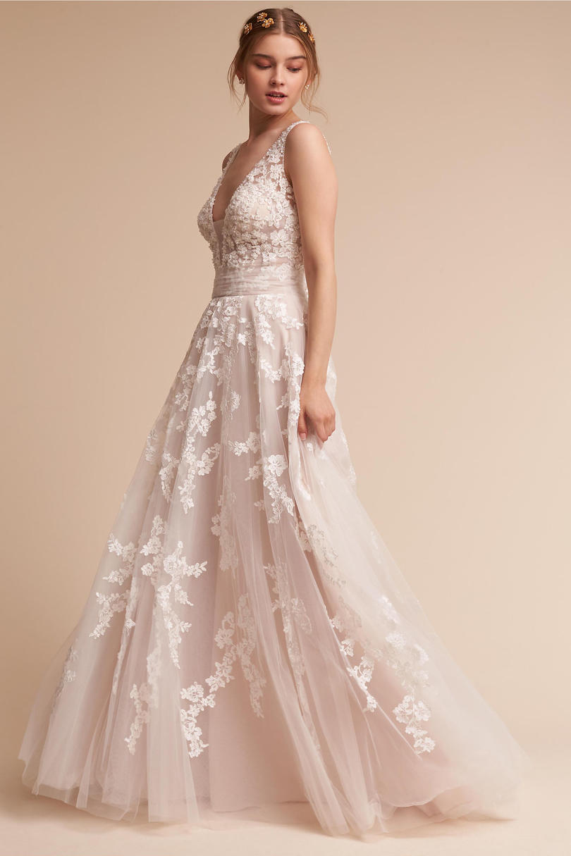 Blush wedding dress styles we love southern living crystal embellished lace gown junglespirit Image collections