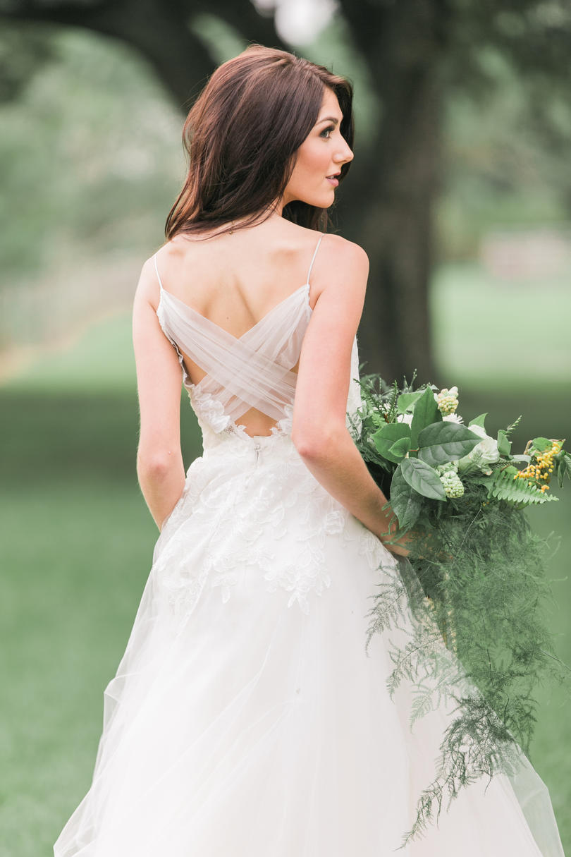 Wedding Gown with Floral Details and Delicate Draping