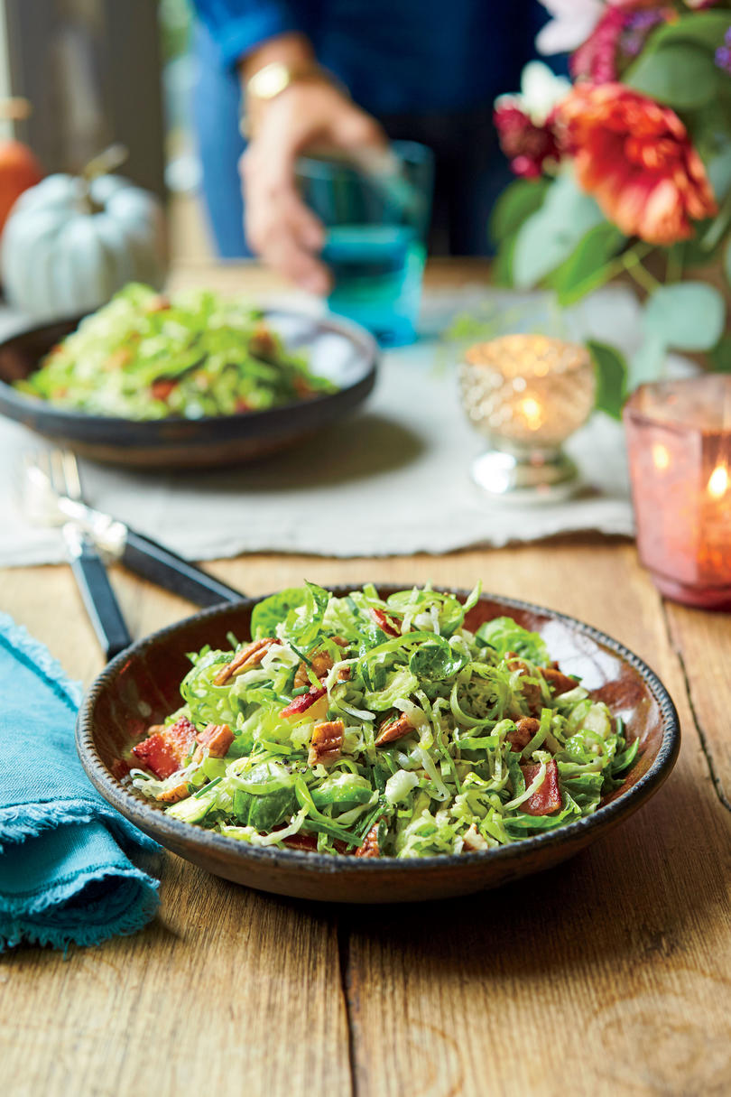 Brussels Sprout-and-Leek Slaw with Bacon and Pecans