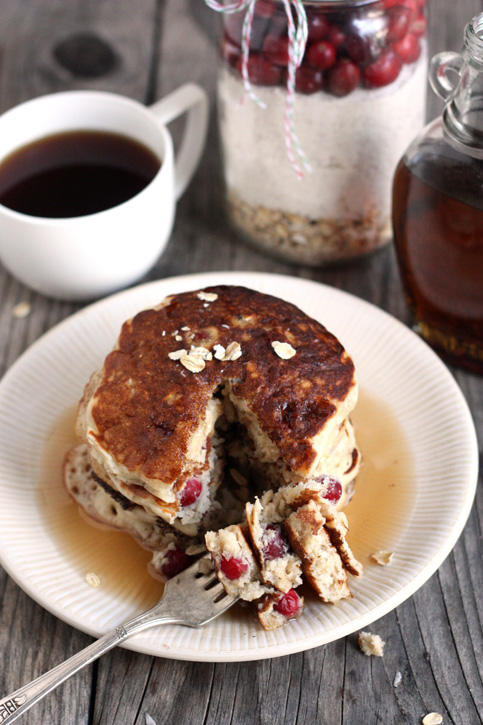 Cranberry Oatmeal Cookie Pancake Jars