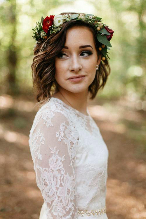 Curled Bob with Flower Crown