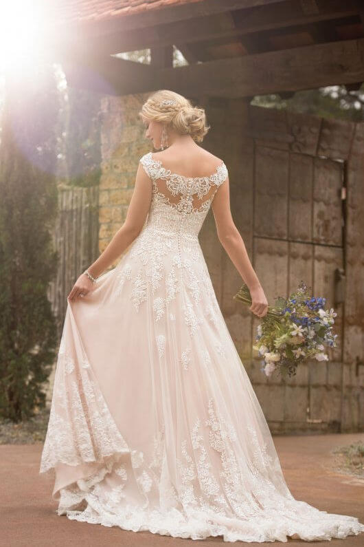 Blush wedding dress styles we love southern living off shoulder lace blush gown junglespirit Image collections