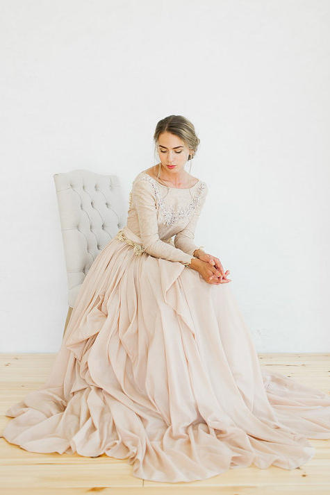 Blush wedding dress styles we love southern living ethereal ruffled blush gown junglespirit Choice Image