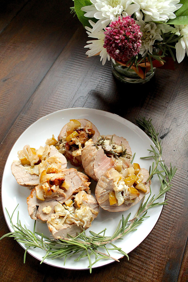Pork Tenderloin Stuffed with Shallots, Poached Pears, and Blue Cheese