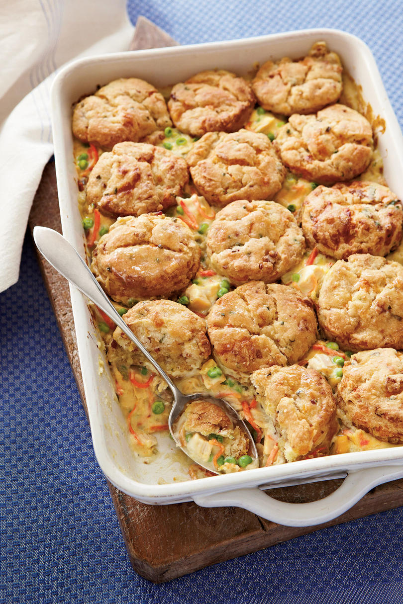 Chicken Pot Pie with Bacon-and-Cheddar Biscuits