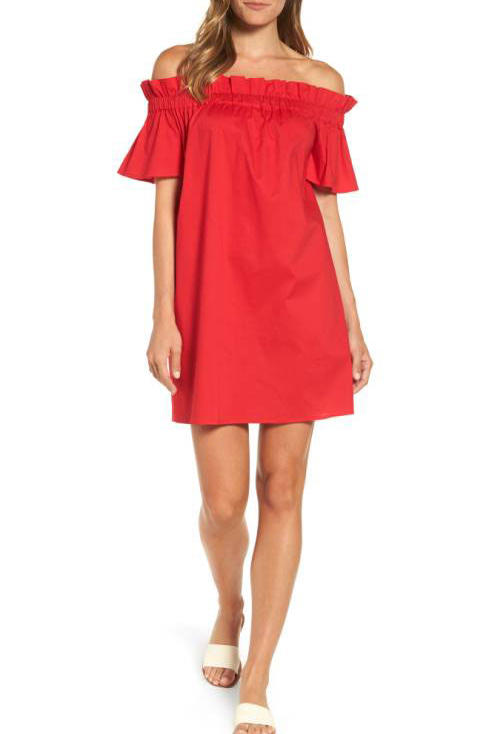 Pleione Off-Shoulder Poplin Shift Dress