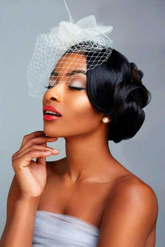 Side Chignon with Birdcage Veil