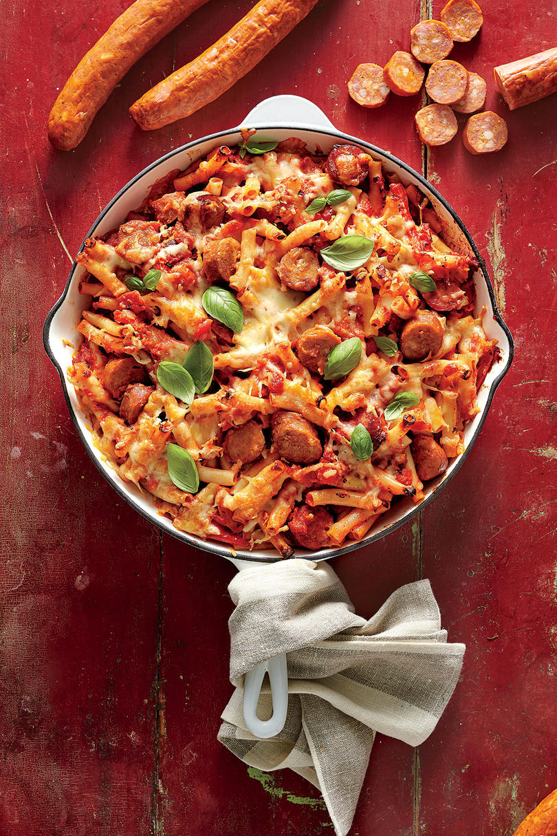 Skillet-Baked Ziti with Andouille, Tomatoes, and Peppers