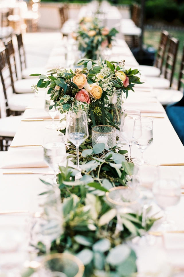 Long Table Centerpieces and Greenery