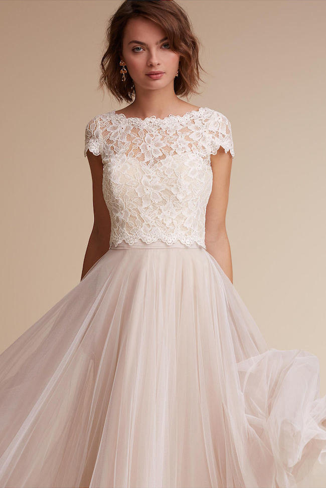 Blush wedding dress styles we love southern living two piece lace and tulle blush gown junglespirit Image collections