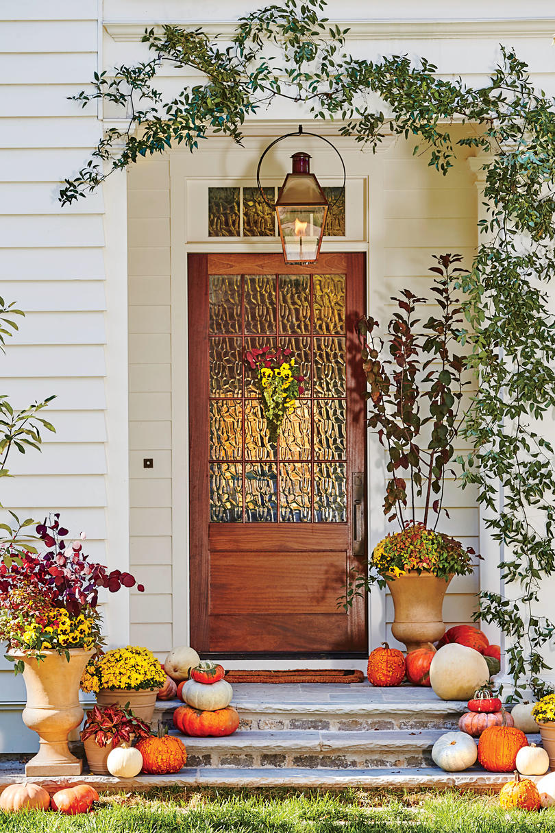 White Home Decorated for Fall