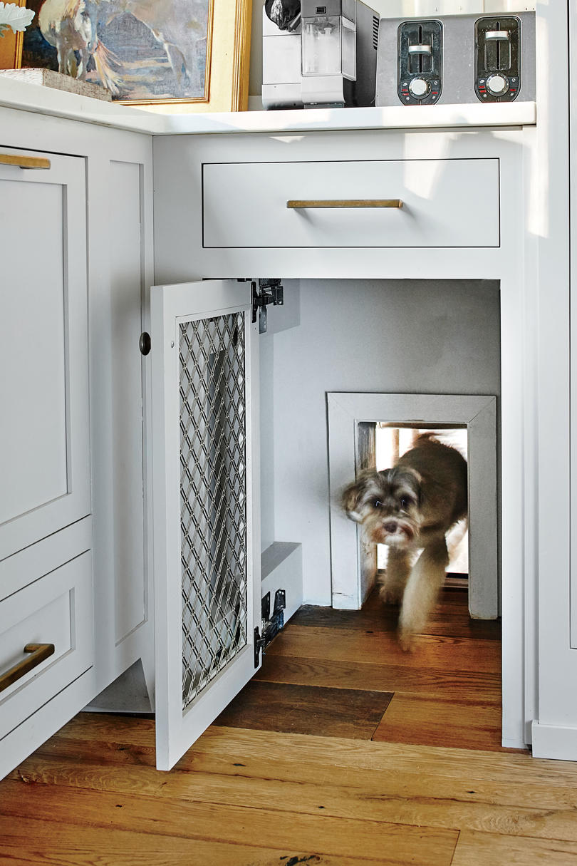 Doggy Door Hidden Behind Kitchen Cabinet