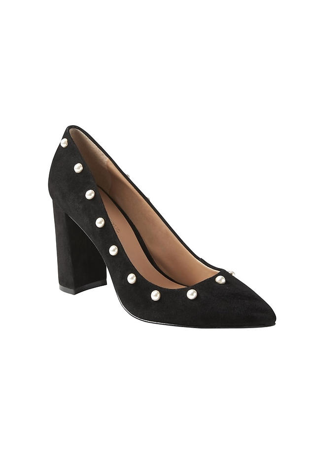 Pointed-Toe Block-Heel Pump with Pearls
