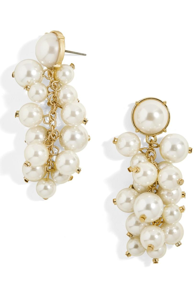 Cluster Pearl Drop Earrings