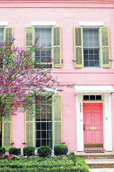 White House Gray Shutters Pink Door