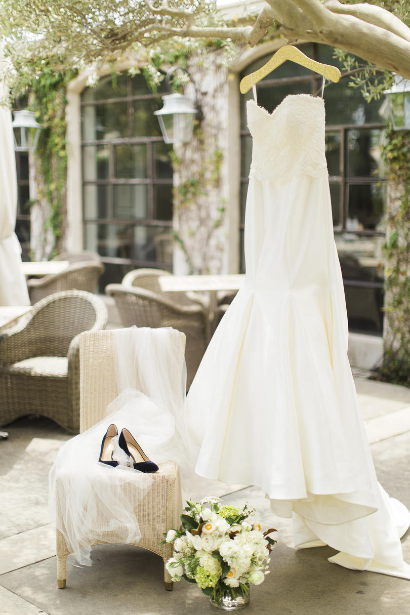 Timeless Bridal Style With a Bold Blue Shoe