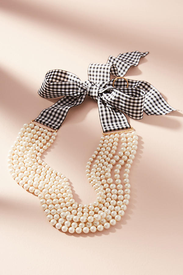 Gingham & Pearls Layered Necklace