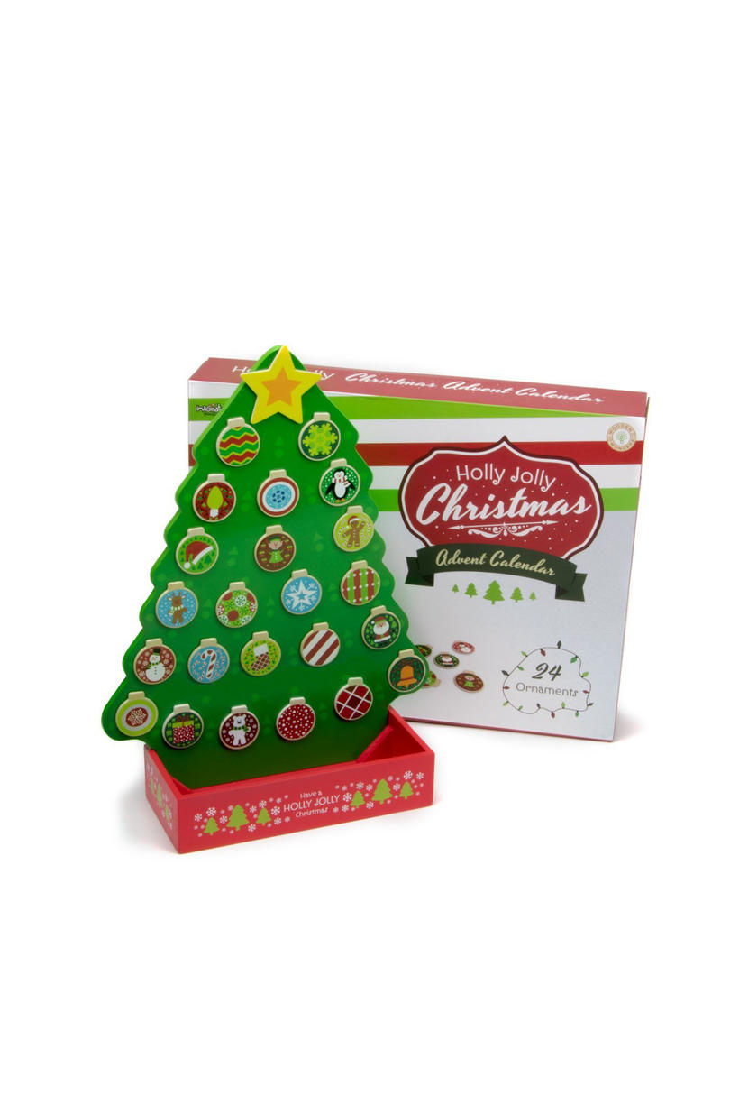 Holly Jolly Christmas Magnetic Wooden Advent Calendar