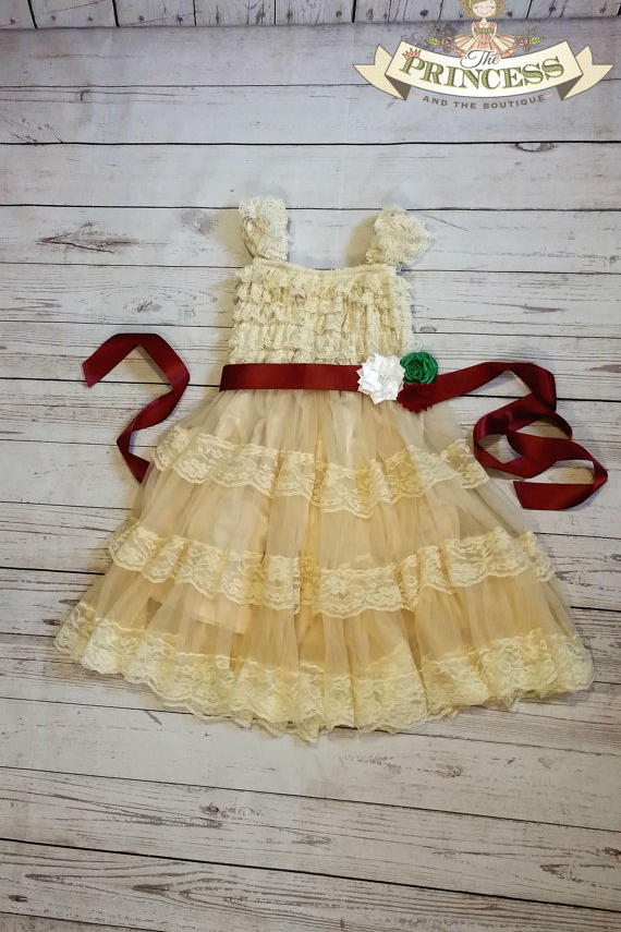 Champagne Tulle Christmas Dress