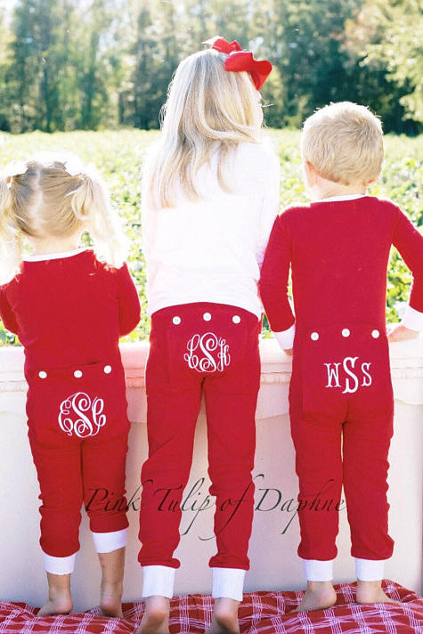 christmas pjs with monogrammed pants - Christmas Pjs Toddler