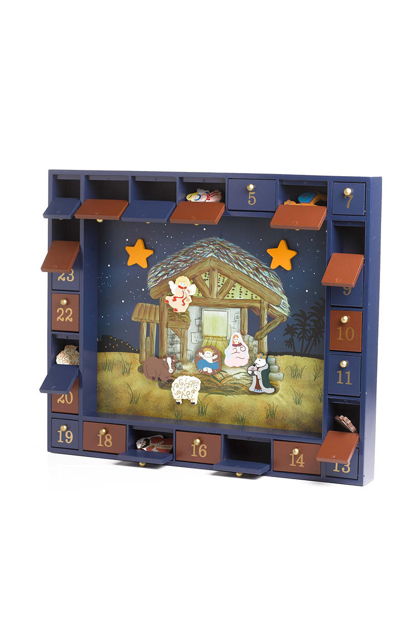 Kurt Adler Wooden Nativity Advent Calendar with 24 Magnetic Pieces