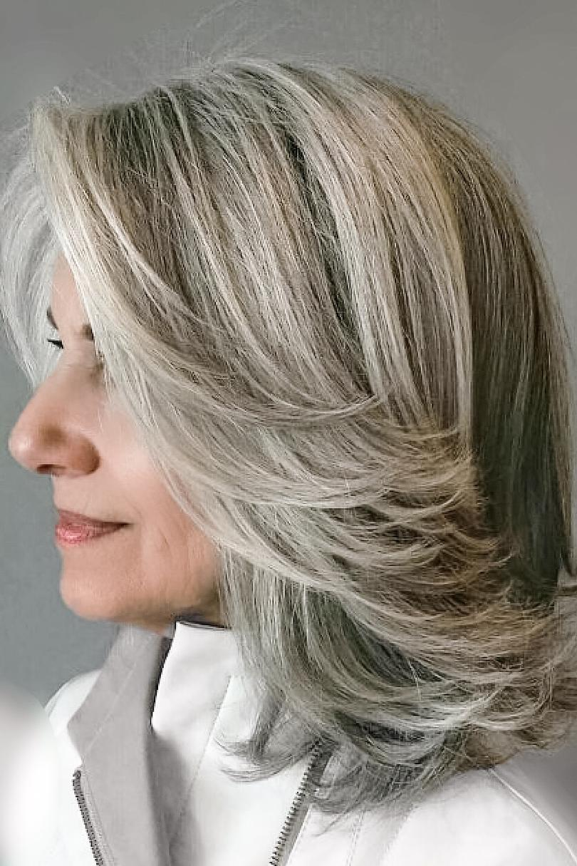 silver hair styles medium brown hair with blending gray highlights photo 1348