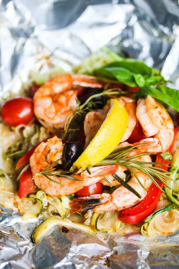 Grilled Mediterranean Shrimp with Zucchini Noodles Foil Packs
