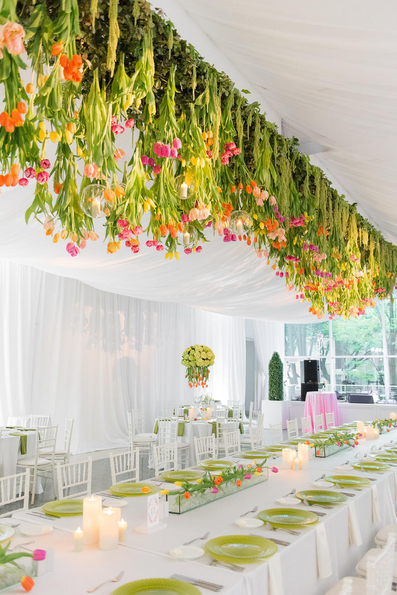 Suspended Tulip Floral Arrangement for Wedding Reception