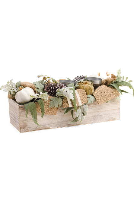 Faux Pumpkin And Pinecone Centerpiece
