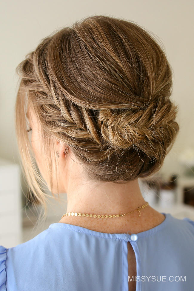 Great updos for medium length hair southern living tucked fishtail braid updo solutioingenieria Image collections