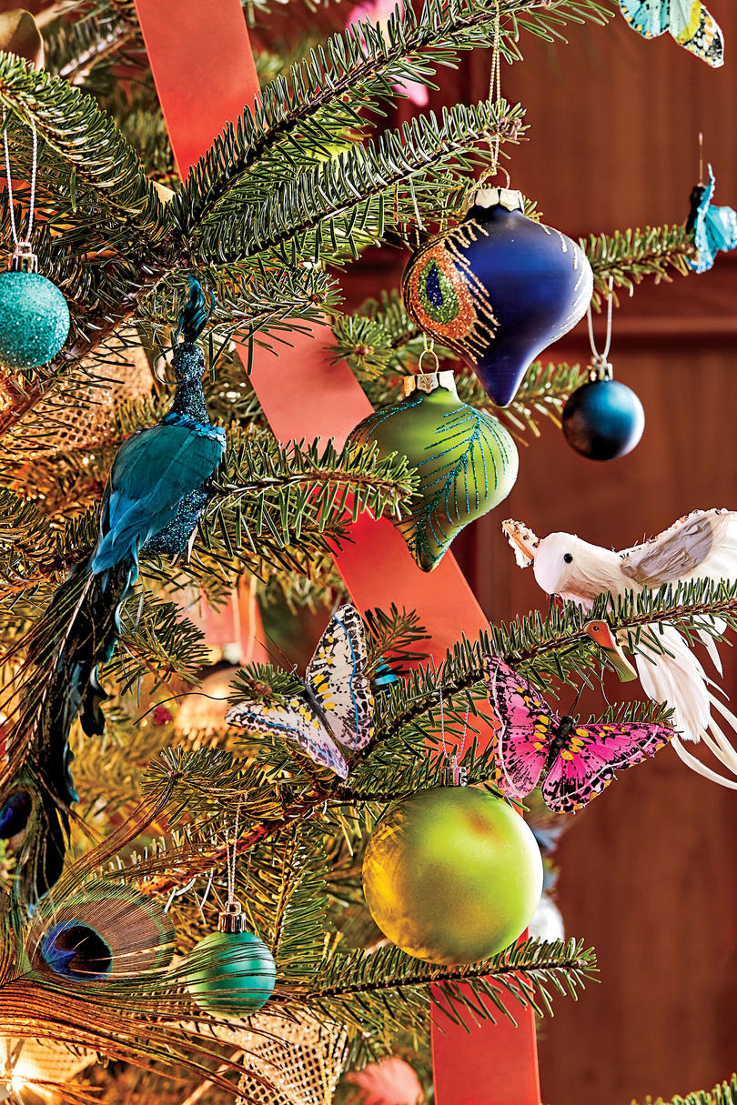 Charlotte Lucas Christmas Tree with Jewel Tone Ornaments, Birds, and Butterflies