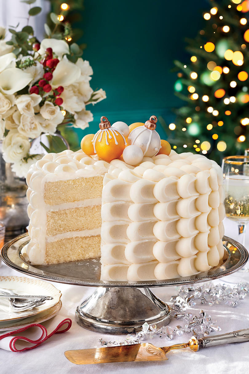 Snowy Vanilla Cake with Cream Cheese Buttercream and Cake Ball Ornaments