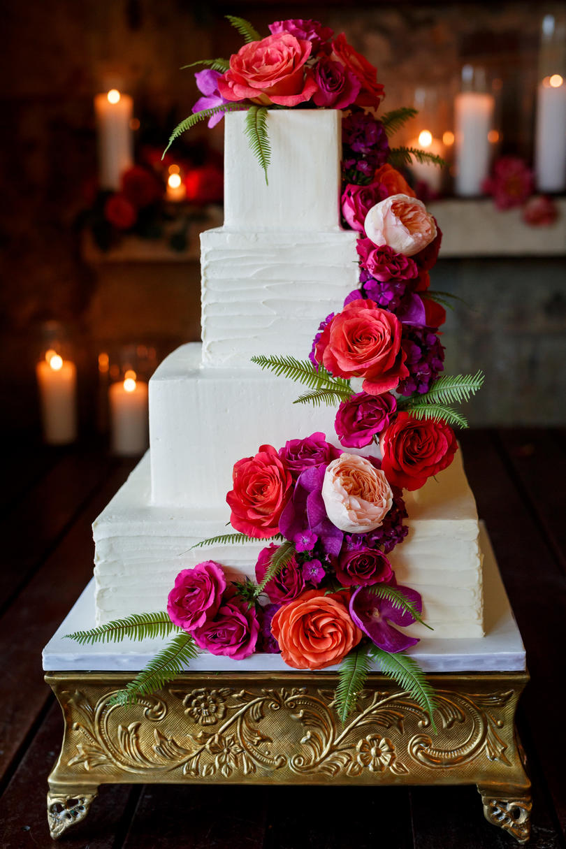 Square Buttercream Wedding Cake with Bright Blooms